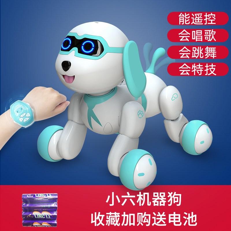 Tekno Newborns 인공지능 로봇강아지 로봇고양이 퍼피 리틀 여섯 아기 스마트 로봇 개 장난감 개 산책, 파랑 작은 6 개 [수집 플러스 구입] 건전지 4 개 무료_-