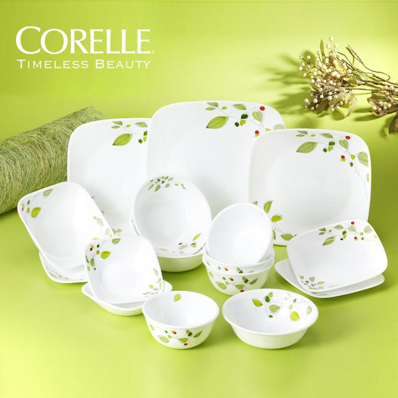 코렐 신상품 접시 공기 대접 그릇 홈세트, 코렐 그린브리즈 사각 4인 17p