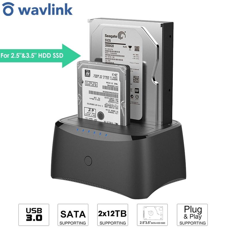 Wavlink 듀얼 베이 USB3.0 외장 하드 드라이브 인클로저 2.5 3.5 HDD SSD Offine 클론 USB3.0 박스 케이스용 SATA HDD 도킹 스테이션, 협력사, 미국 플러그