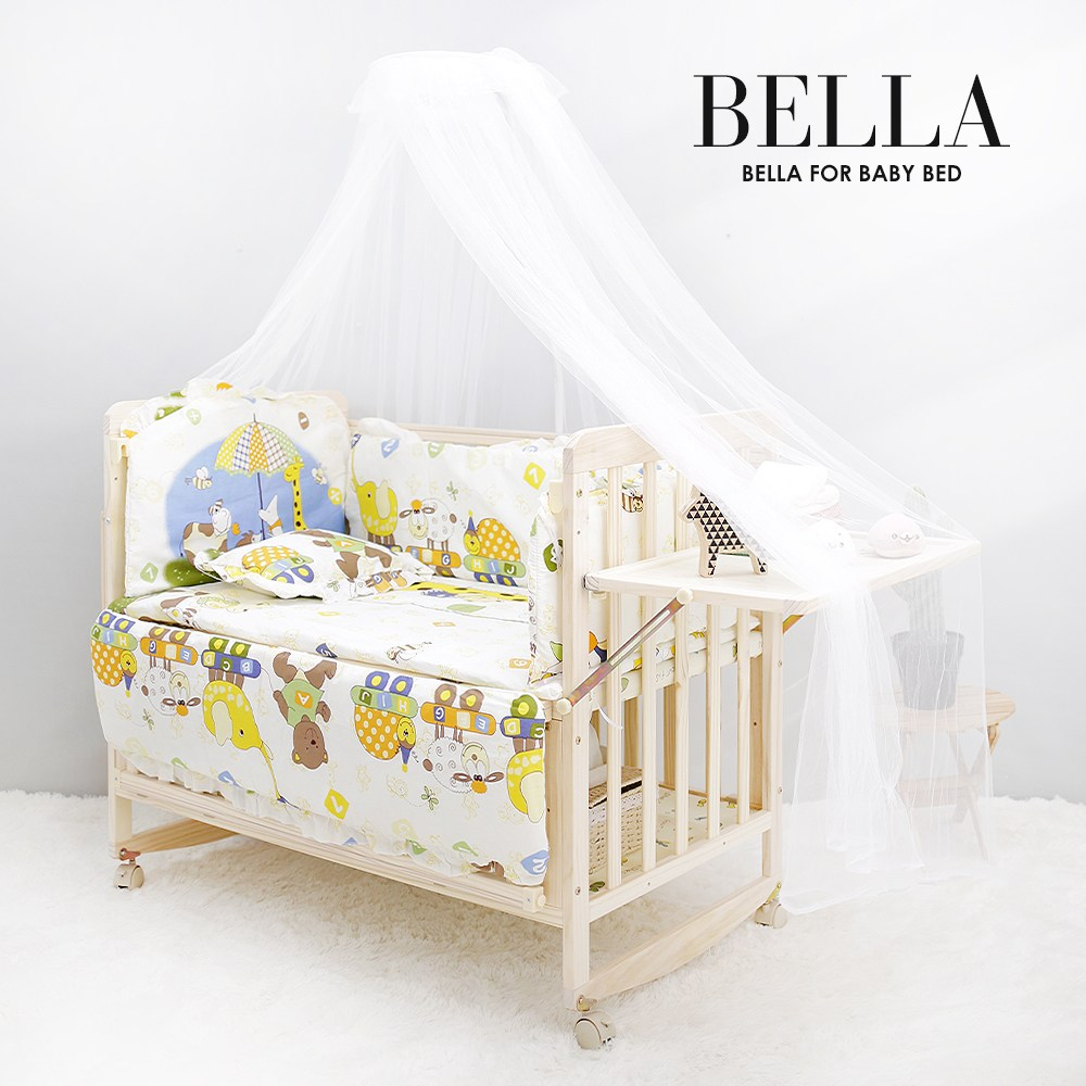 JK스토어 벨라 베이비 원목아기침대 아기침대+3가지 사은품, 아기침대+쥬쥬플레이범퍼