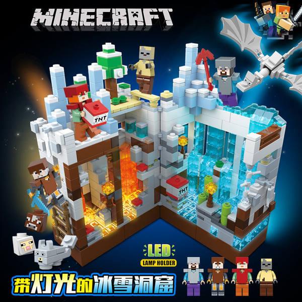 마인크래프트 피규어 장난감 블록 세트, 얼음과 눈 동굴 라이트 에디션 선물 상자