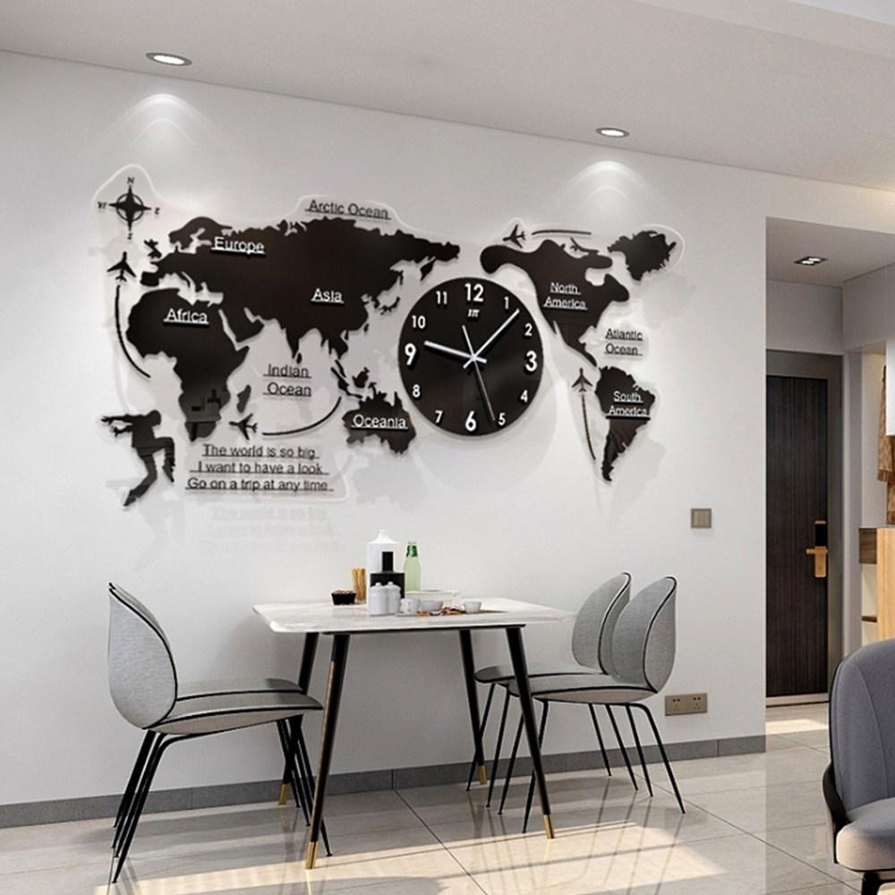 21세기트랜드 아크릴 세계지도 야광 벽시계+로마체 원형 벽 시계, 대