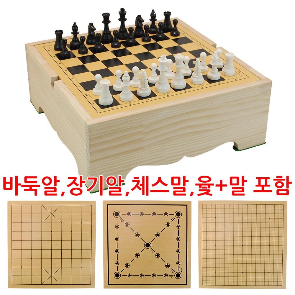 바둑판 장기판 체스판 윷놀이판 4종 게임판 풀세트, 4종 게임판 인효소석세트