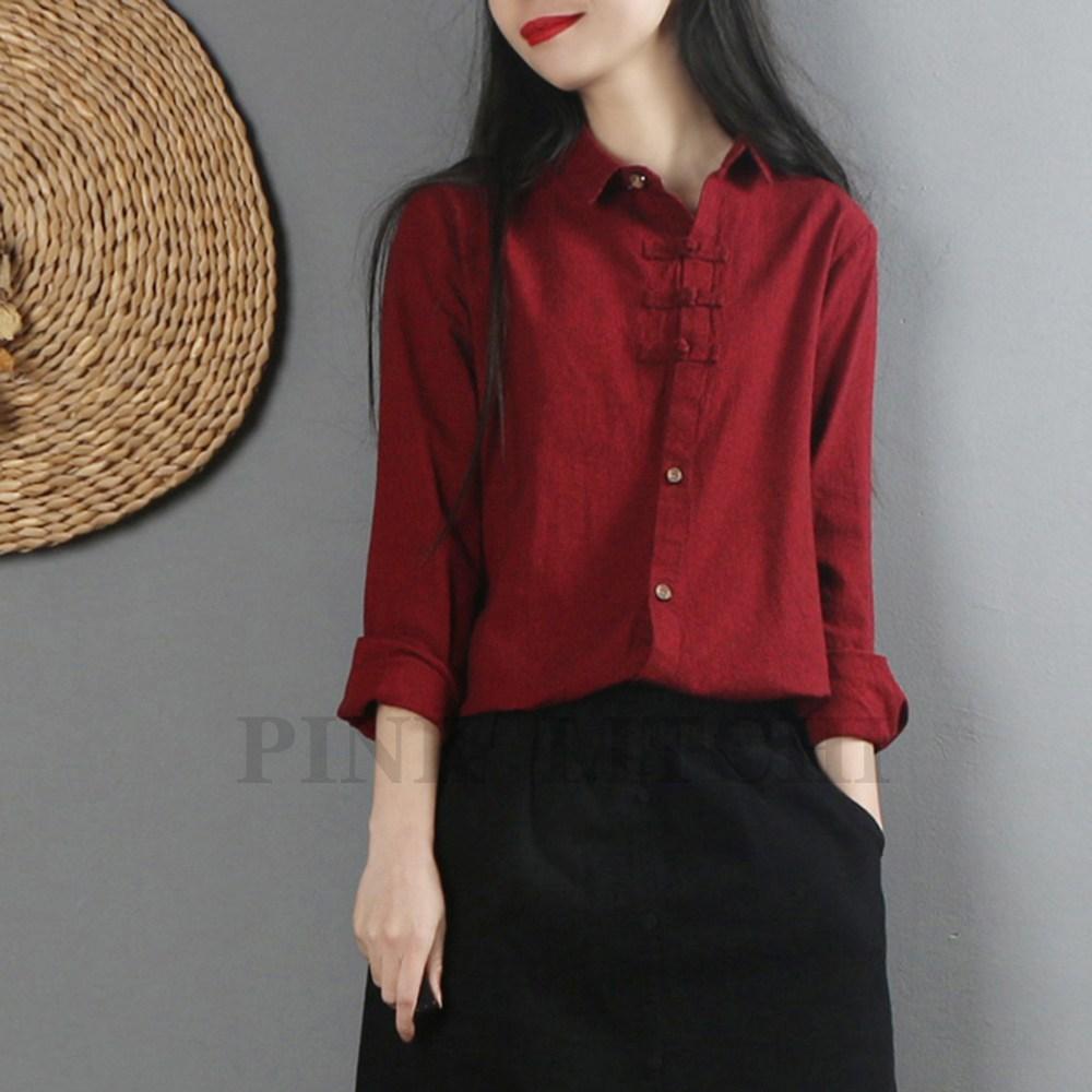 PINK LITCHI 여성 린넨 셔츠 남방 여자 루즈핏 캐쥬얼 심플 Sep2XMY910YUI144+양말 증정