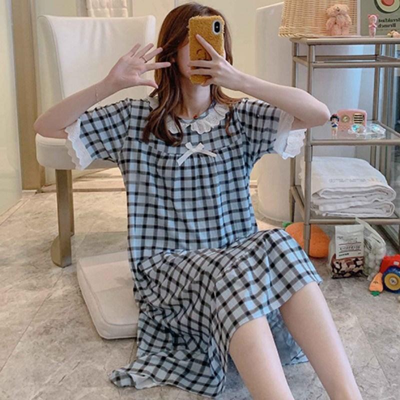 데코라멘 반팔 여름 원피스잠옷 여성파자마 여성잠옷 홈웨어