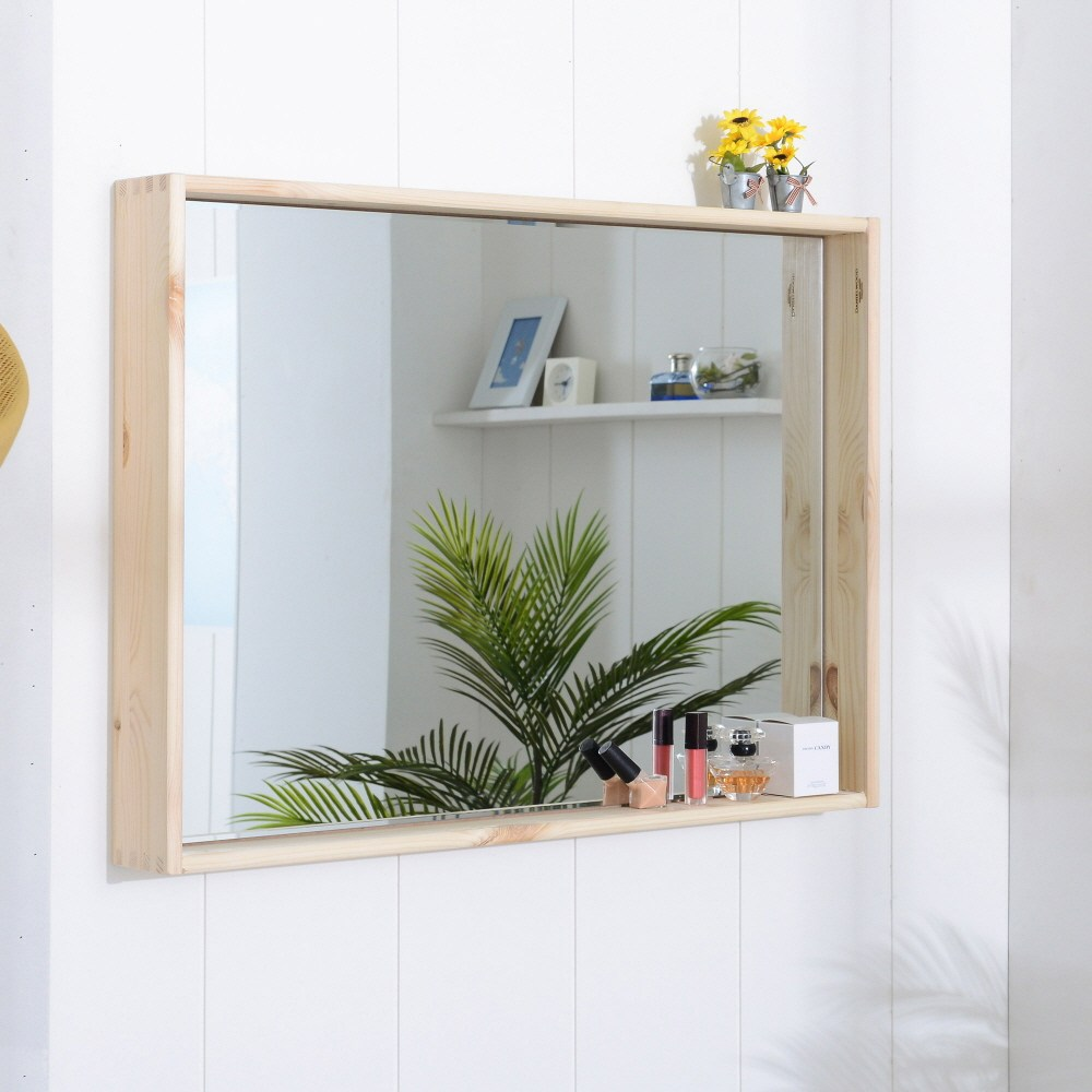 선반형 수납 원목거울(대형) 화장대 벽걸이 스탠딩 거울, 선반형 원목거울(대형)