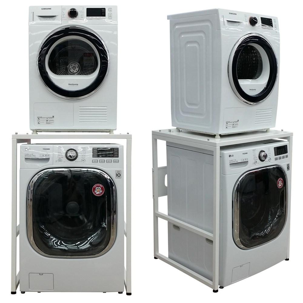듀오스탠드 LG 삼성 위닉스 대우 캐리어 위니아 베코 미디어 의류 건조기 세탁기 선반 앵글 (화이트 실버 선택) 앵글구멍없는 상판까지 메탈, DST-101WL(화이트)
