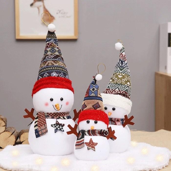 크리스마스 꾸미기 산타 눈사람 인형 3p, A