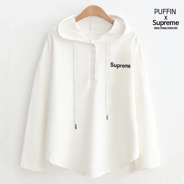 슈프림 여성용 오버핏 후드 긴팔 티셔츠