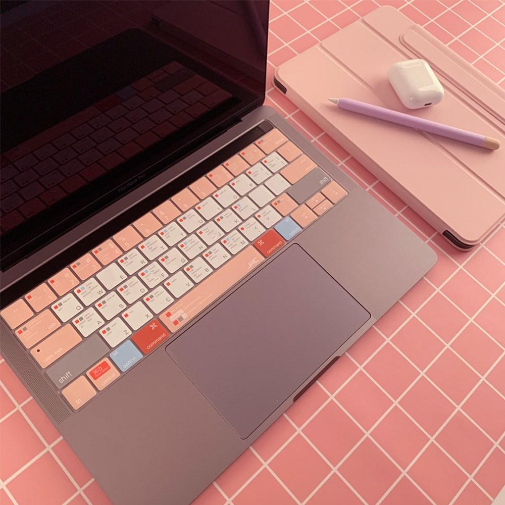 아카빌라 맥북 에어 프로 13 15인치 M1 자판 덮개 커버 단축키 키스킨, 1개, 에어 13인치(A1369/A1466) - 핑크