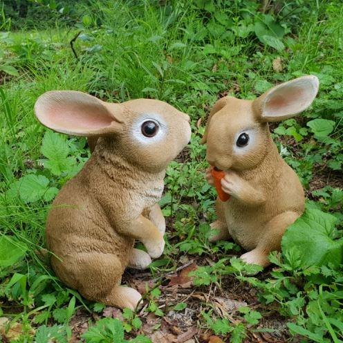 꼬모가든 가든 토끼(소) 2P 정원장식인형 토끼조각상 정원꾸미기 정원소품 화분장식