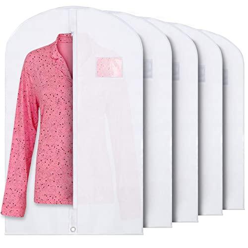 Plixio White Garment Bags Suit Bag Travel & Clothing Storage hanging dress dress shirt coat - zipper and transparency (5 pack)