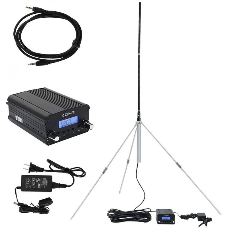 1w / 7w 미니 라디오 PLL 송신기 Fm 스테레오 스테이션 및 PLL 송신기 전체 알루미늄 안테나 및 3.5mm 오디오 케이블 포함, 단일옵션, 단일옵션