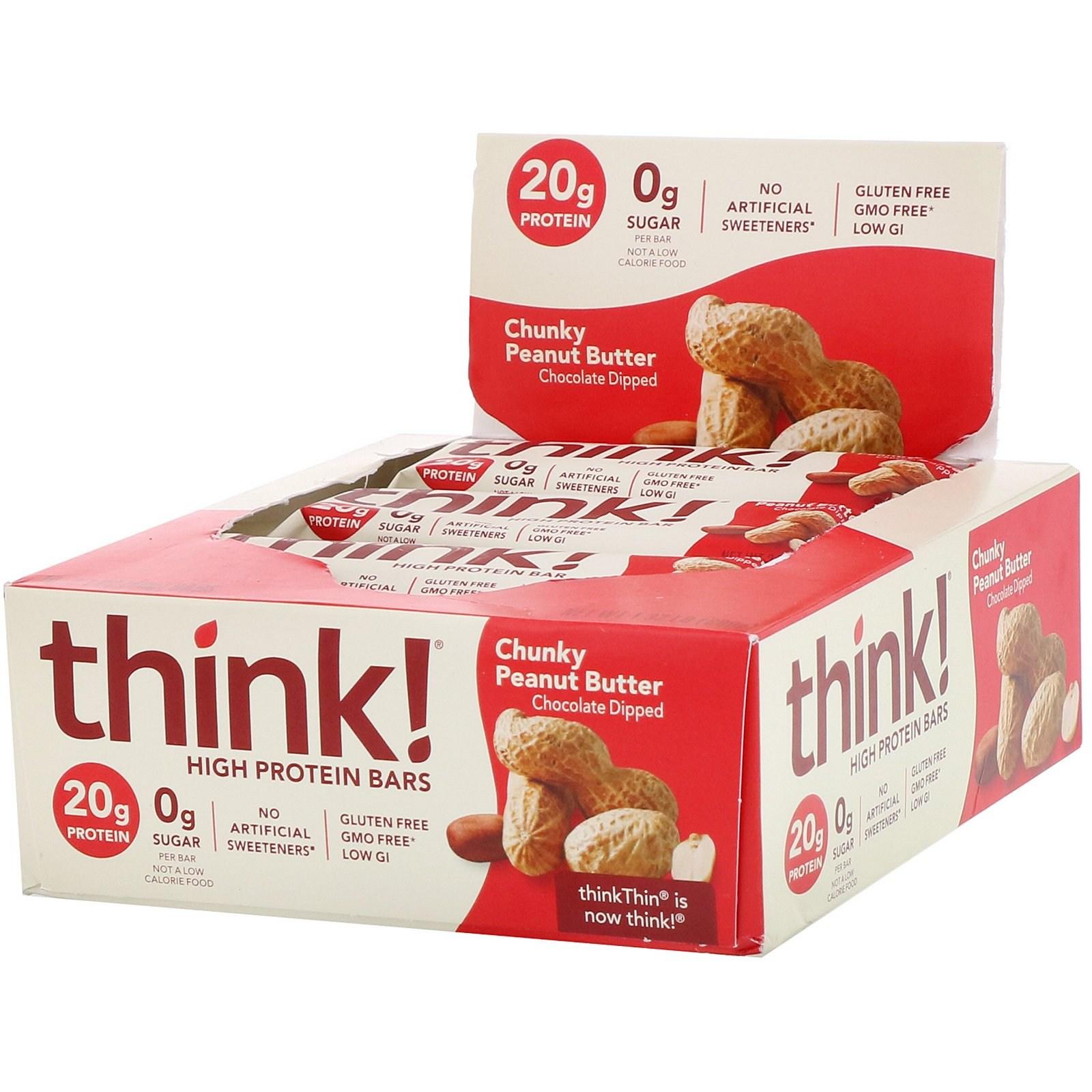 씽크씬 고단백질 바 청키 땅콩 버터 10개 각 60g 프로틴바, 1개, -