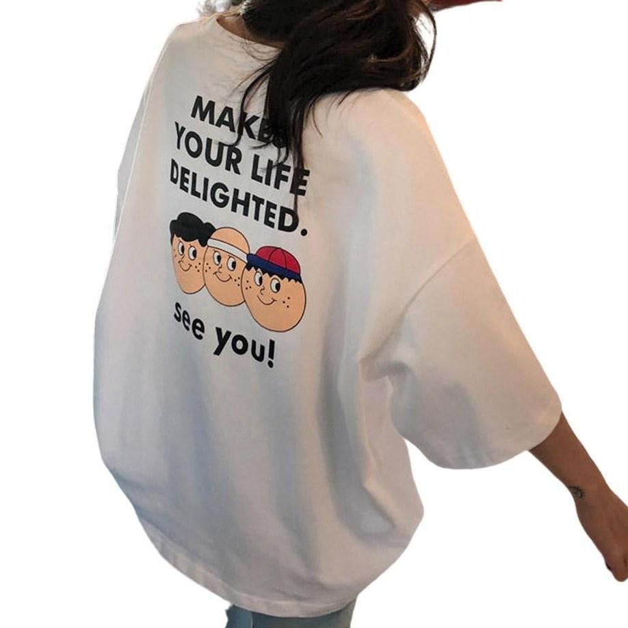 리더스타 당일발송 여성티셔츠 오버핏 자체제작 반팔 티셔츠