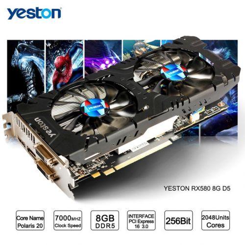 [해외] YESTON RADEON RX 580 GPU 8 GB GDDR5 256BIT 게임용 데스크탑 컴퓨터 PC 비디오 그래픽 카드 지원 DVIHDMI PCIE X16 3.0, 중국