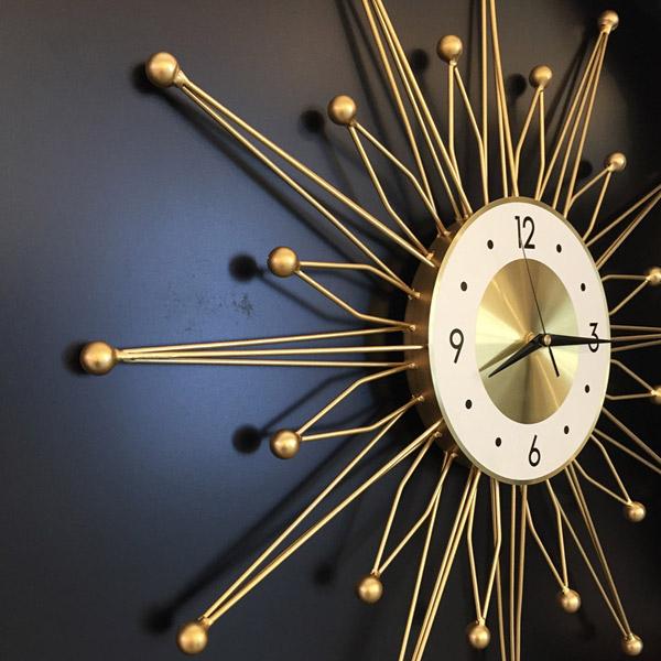 슈페리온 북유럽풍 디자인 무소음 태양벽시계B3 집들이 결혼선물 거실벽시계, B3-골드SMALL(소)
