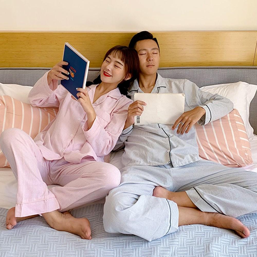 어나더디 면기모 심플스트라이프 남여 커플 잠옷 세트 파자마
