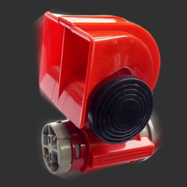 에이치플러스몰 12V 차량용 컴팩트 트윈톤 에어혼 레드