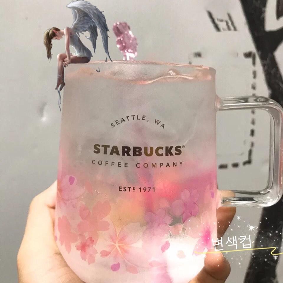 스타벅스 내열유리 벚꽃 유리컵 차가운 온도에 따라 색이 바뀌는 변색컵