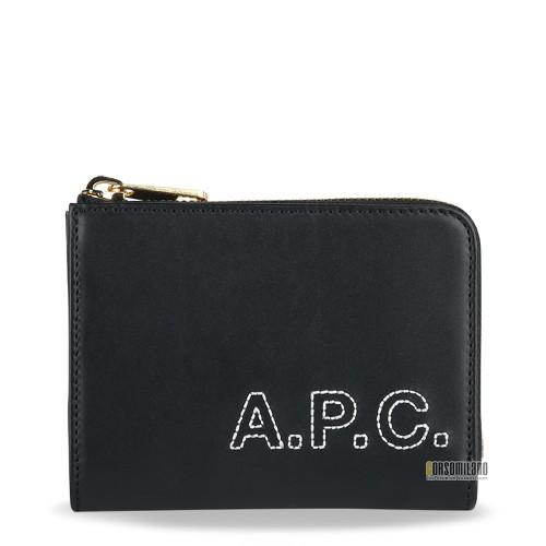 A.P.C.(아페쎄) 아페쎄 자수 로고 지퍼 카드 지갑 20SS PXBGO F63376 LZZ