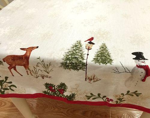 해외 크리스마스 식탁보 테이블보유럽식 전원 산타 사슴 원탁 직사각형 식탁보 인스 티 테이블보-10356, 01.원형 지름 175cm, 01.베이지/77