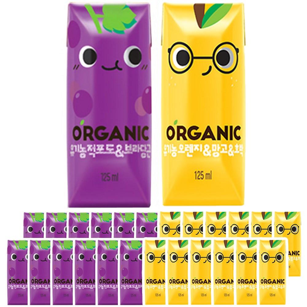 롯데칠성음료 크니쁘니 유기농 오가닉주스 적포도/오렌지 2가지맛 125ml x 24팩