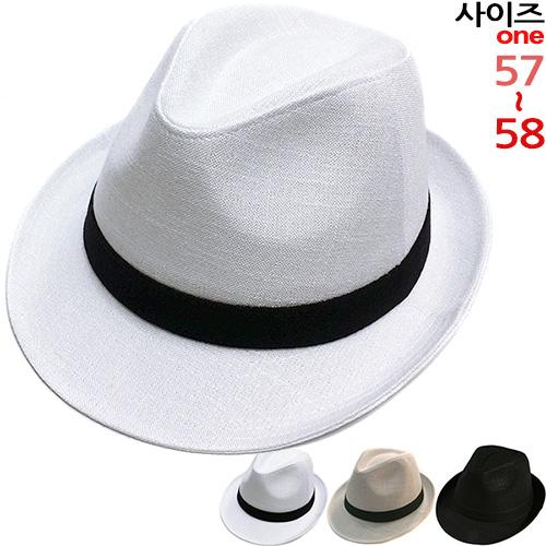 이럭셔리클럽 젠틀맨 배색때 중절모 페도라 여름모자 남녀공용-CAP160302