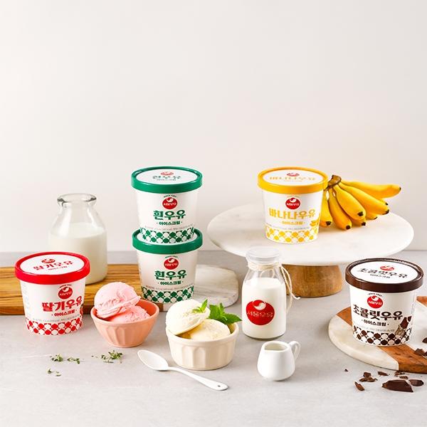 [서울우유] 파인트 아이스크림 4종 (흰우유+초코우유+딸기우유+바나나우유), 단품