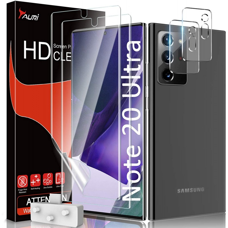 [4 팩] 타 우리 2 팩 플렉시블 스크린 프로텍터 + 삼성 갤럭시 노트 20 울트라 5G 6.9 형 강화 유리 카메, 1