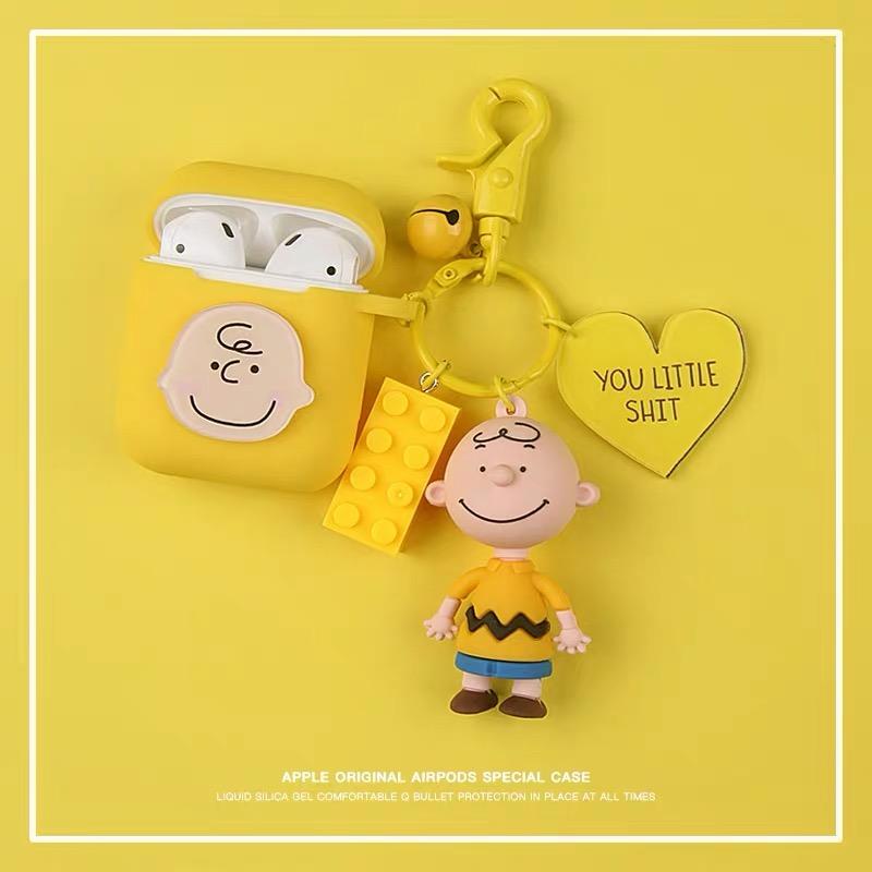 민아네 에어팟1 에어팟2겸용 케이스+snp키링 1세트(철가루방지스티커 증정), 노랑, 노랑