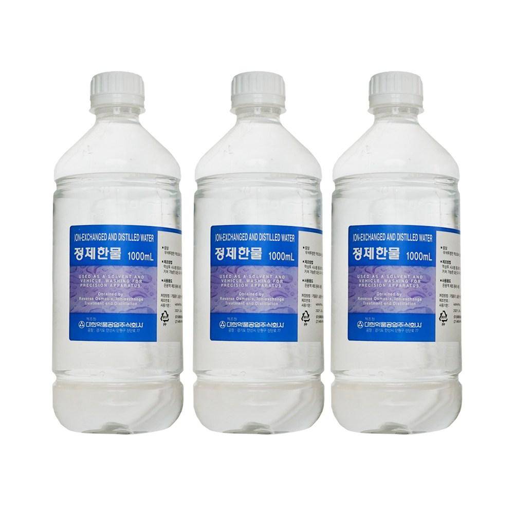 대한약품 정제한물 정제수, 3병, 1000ml