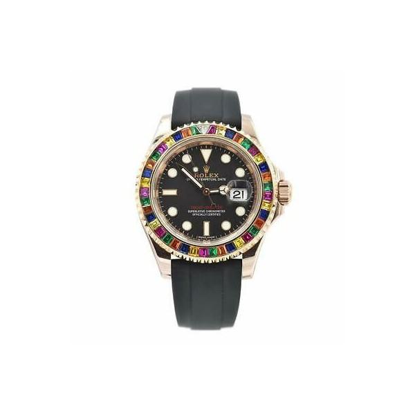 350377 롤렉스 Rolex Yacht-마스터 Rainbow Sapphires Eve로즈골드 오토매틱 남성용 시계 116695
