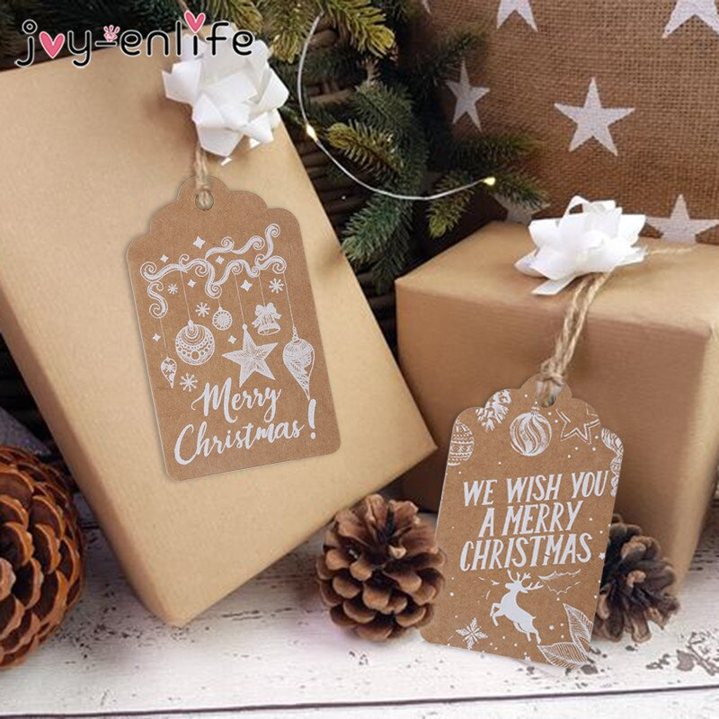 50pcs 메리 크리스마스 종이 카드 노엘 파티 산타클로스 트리 상품권 걸기 장식품 홈플러스펜던트, 01 50pcs style A