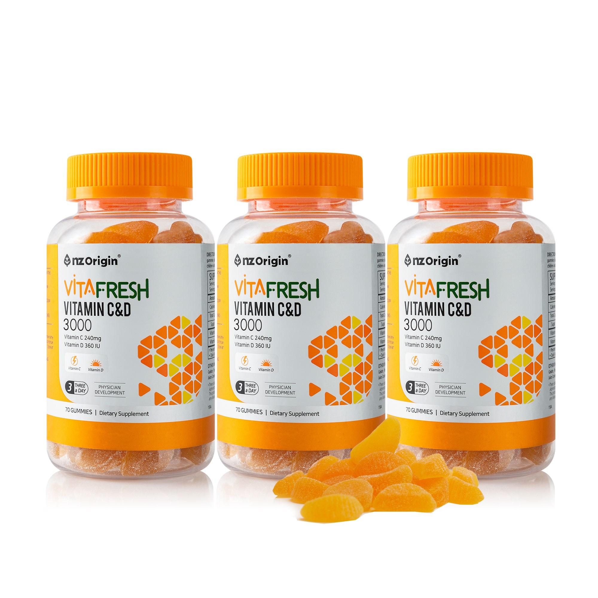 엔젯오리진 비타프레쉬 귤젤리 비타민C&D(70구미), 3통, 70구미