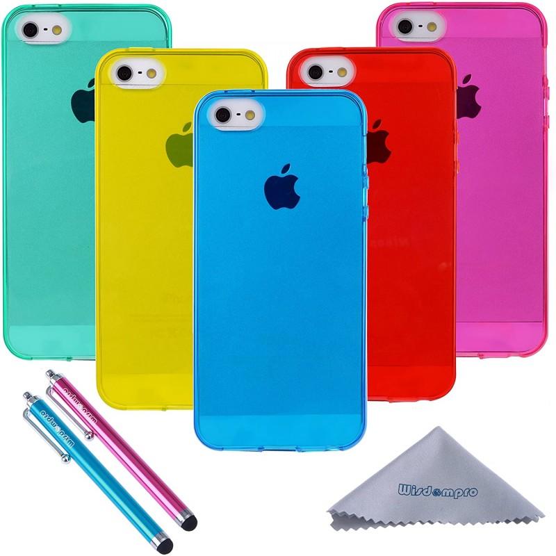 iPhone 5s 케이스 Apple iPhone 5 iPhone 5s 및 iPhone SE 1 세대 (Blue Aqua Blue Hot Pink Yellow Red) 용 투명 젤리