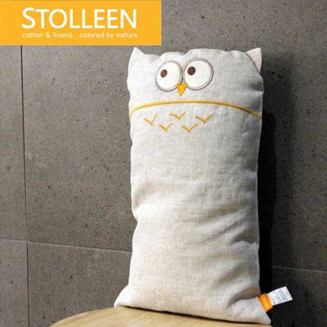 [천삼백케이] [슈톨렌] [슈톨렌 STOLLEEN]네추럴 린넨 부엉이 아기베개, 단품