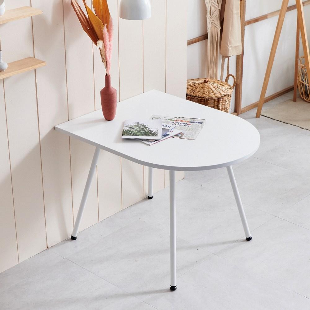 라자가구 하임 이지케어 2인 반타원 테이블, 화이트