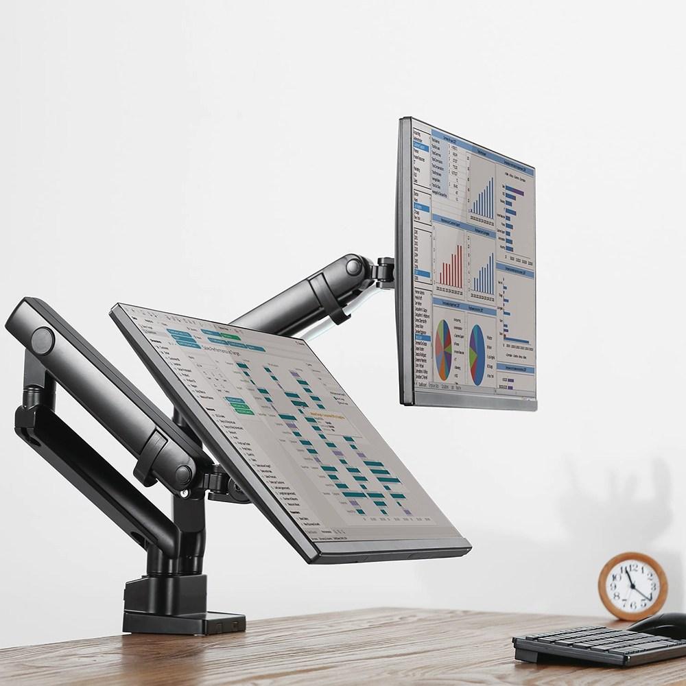 모트븐 듀얼 모니터 암 거치대 트윈 더블 LCD LED 커브드 모니터암 17-32인치, 블랙