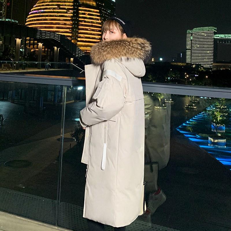 제철이 아닌 다운 코트 여성 와이드 루즈핏 빅사이즈 커플룩 겨울 두꺼운 하프기장 빅사이즈겨울야상