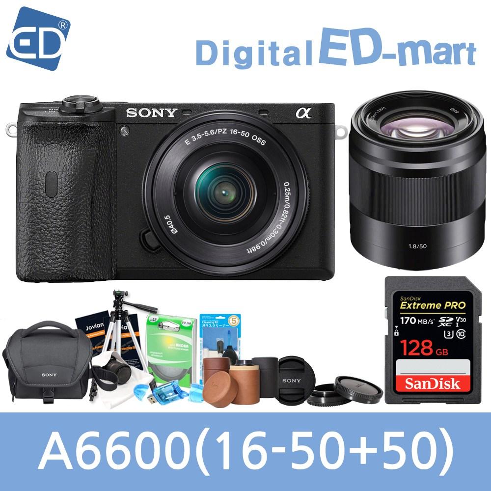 소니 A6600 16-50mm 128패키지 미러리스카메라, 03 소니A6600블랙 + 16-50mm렌즈 + 50mm +128GB + 소니가방 풀패키지