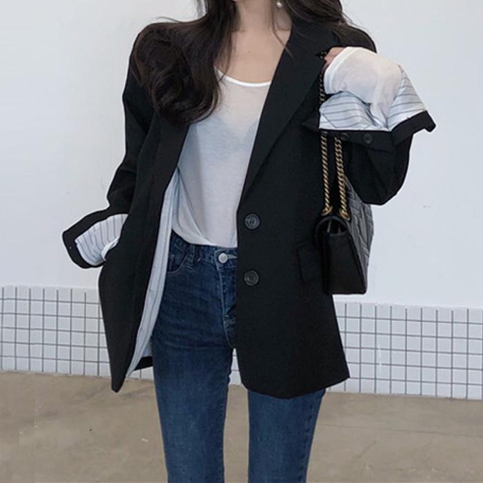 대박난박양 여성용 엠버 소매 배색 자켓