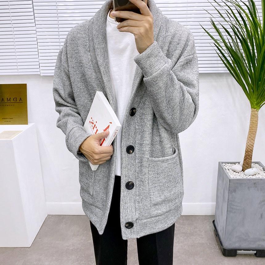 애드매이브 남자 두꺼운 융털 안감 박스 오버핏 숄카라 가디건 4컬러