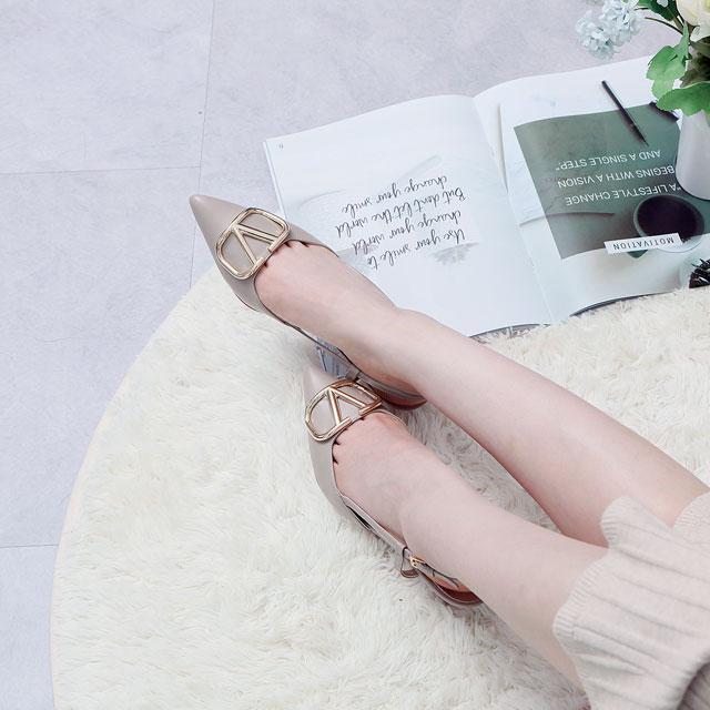 성수동수제화 부드러운 양가죽 스틸레토 슬링백 미들굽 5cm