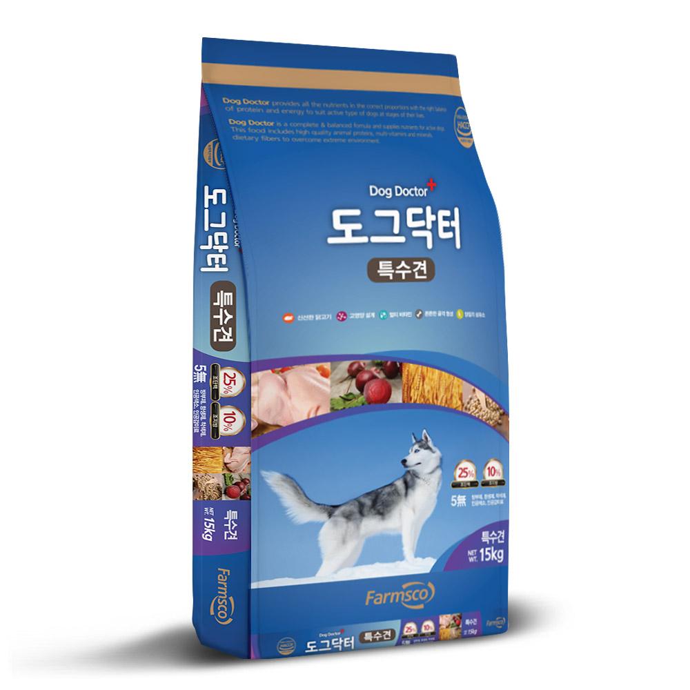 팜스코 도그닥터특수견 15kg 특수견사료 강아지사료 개사료 활동견사료 사료영양학교실