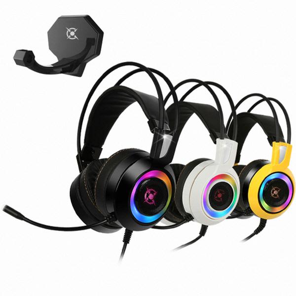 콕스 COX CH50 가상 7.1 진동 RGB LED 게이밍 헤드셋, 옐로우