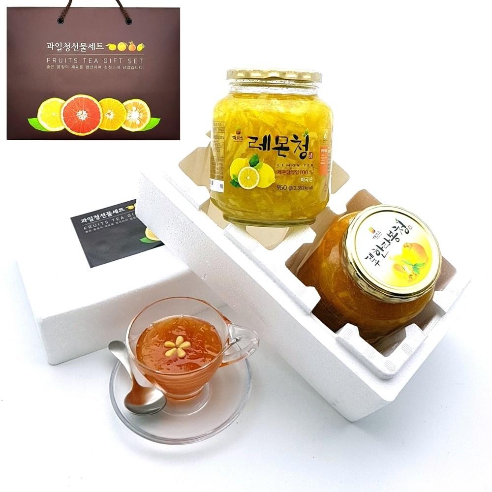 [ 과일청 수제청 선물세트 ] 레몬청950g + 제주한라봉청950g, 1set