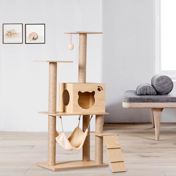 그네 원목 캣타워 캣폴 고양이 용품 놀이터 해먹 침대, M015 파인 우드 그레인 밀도