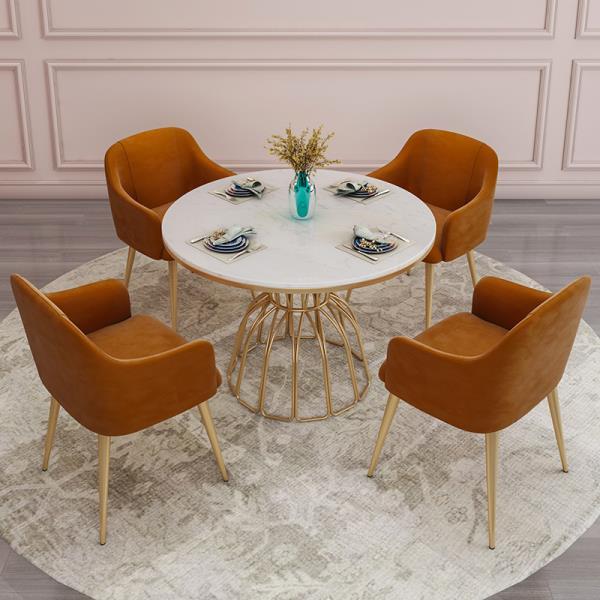 100CM 테이블 4인용 세라믹 대리석 식탁 접이식 원형, 기본형