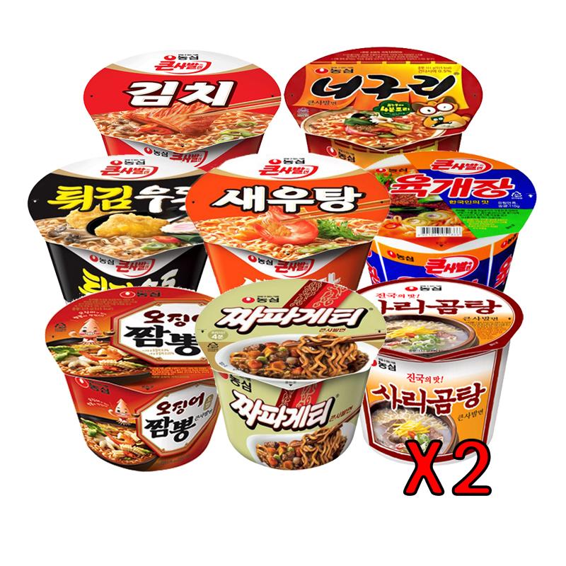 농심 김치+너구리+사리곰탕+새우탕+오짬+육개장+짜파게티+튀김우동 x각 2개씩, 16개